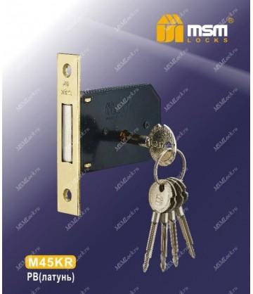 Дверной замок врезной MSM крестовой ключ M45KR Полированная латунь (PB)