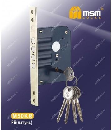 Замок врезной MSM крестовой ключ M50KR-T Полированная латунь (PB)