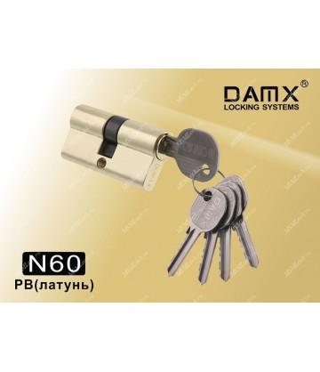Цилиндровый механизм DAMX Простой ключ-ключ N60 мм Полированная латунь (PB)