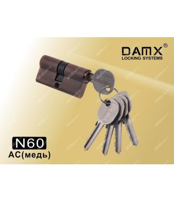 Цилиндровый механизм DAMX Простой ключ-ключ N60 мм Медь (AC)