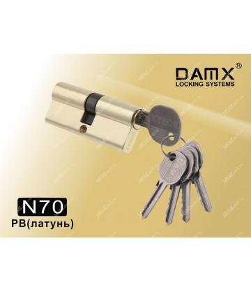 Цилиндровый механизм DAMX Простой ключ-ключ N70 мм Полированная латунь (PB)