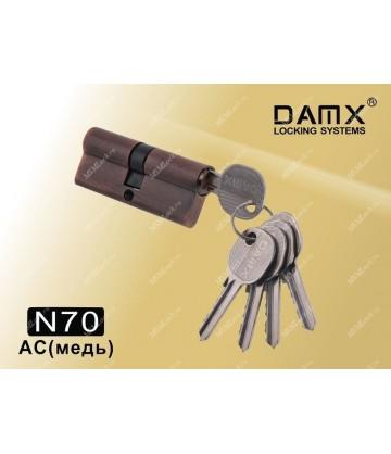 Цилиндровый механизм DAMX Простой ключ-ключ N70 мм Медь (AC)