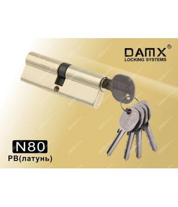 Цилиндровый механизм DAMX Простой ключ-ключ N80 мм Полированная латунь (PB)