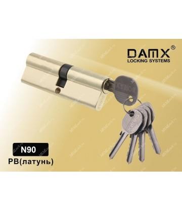 Цилиндровый механизм DAMX Простой ключ-ключ N90 мм Полированная латунь (PB)