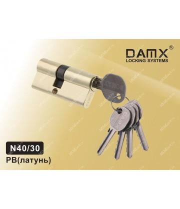 Цилиндровый механизм DAMX Простой ключ-ключ N40/30 мм Полированная латунь (PB)