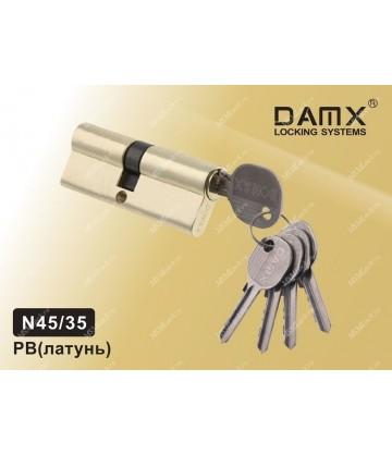 Цилиндровый механизм DAMX Простой ключ-ключ N45/35 мм Полированная латунь (PB)