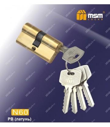 Цилиндровый механизм MSM N60 мм Полированная латунь (PB), латунь Простой ключ-ключ