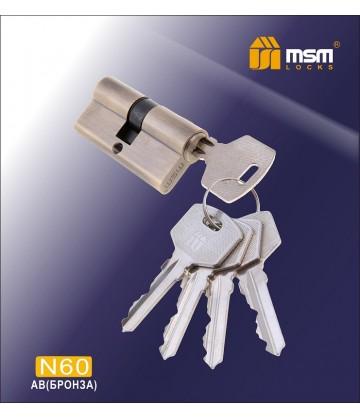 Цилиндровый механизм MSM N60 мм Бронза (AB), латунь Простой ключ-ключ