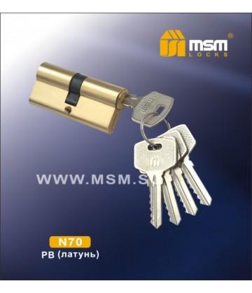 Цилиндровый механизм MSM N70 мм Полированная латунь (PB), латунь Простой ключ-ключ