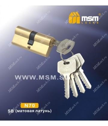 Цилиндровый механизм MSM N70 мм Матовая латунь (SB), латунь Простой ключ-ключ