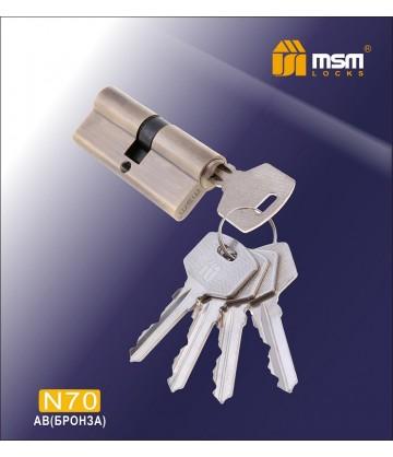Цилиндровый механизм MSM N70 мм Бронза (AB), латунь Простой ключ-ключ