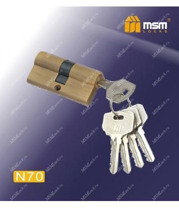 Цилиндровый механизм MSM N70 мм Коричневый (BR), латунь Простой ключ-ключ