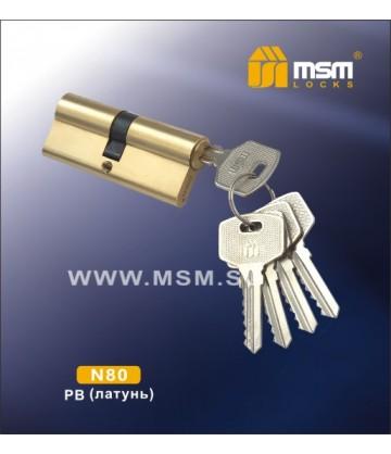 Цилиндровый механизм MSM N80 мм Полированная латунь (PB), латунь Простой ключ-ключ