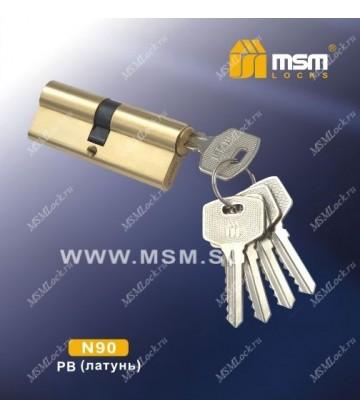Цилиндровый механизм MSM N90 мм Полированная латунь (PB), латунь Простой ключ-ключ
