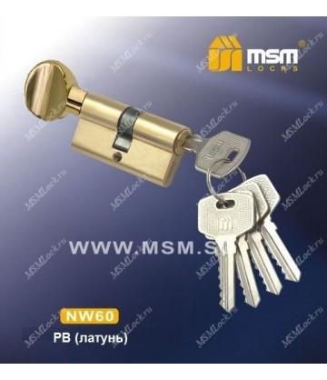 Цилиндровый механизм, латунь Простой ключ-вертушка NW60 мм Полированная латунь (PB)