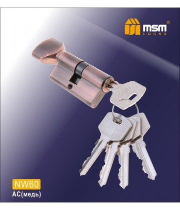 Цилиндровый механизм, латунь Простой ключ-вертушка NW60 мм Медь (AC)