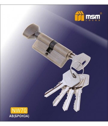 Цилиндровый механизм, латунь Простой ключ-вертушка NW70 мм Бронза (AB)