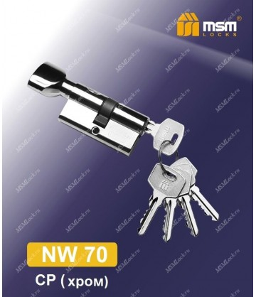 Цилиндровый механизм, латунь Простой ключ-вертушка NW70 мм Хром (CP)