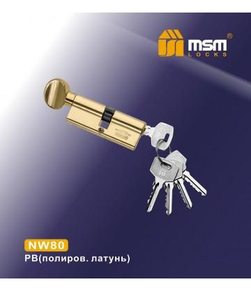 Цилиндровый механизм, латунь Простой ключ-вертушка NW80 мм Полированная латунь (PB)