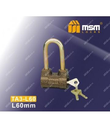 Навесной замок MSM TA3-L60 в Блистере размер 60
