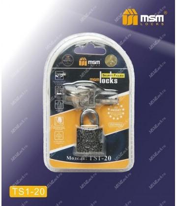 Навесной замок MSM TS1 в Блистере размер 20
