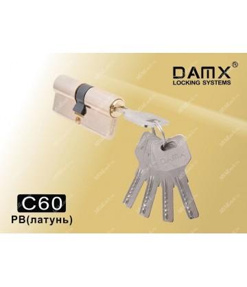 Цилиндровый механизм DAMX Перфорированный ключ-ключ C60 мм Полированная латунь (PB)