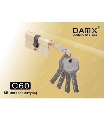 Цилиндровый механизм DAMX Перфорированный ключ-ключ C60 мм Матовая латунь (SB)