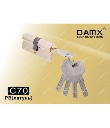 Цилиндровый механизм DAMX Перфорированные ключ-ключ C70 мм Полированная латунь (PB)