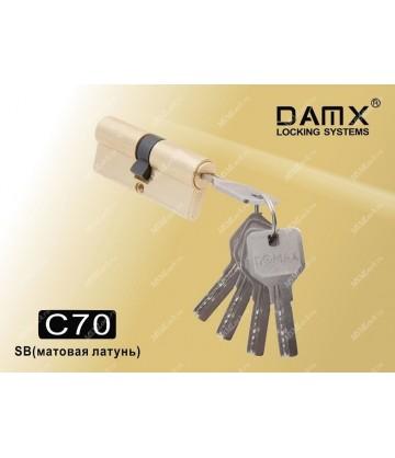 Цилиндровый механизм DAMX Перфорированные ключ-ключ C70 мм Матовая латунь (SB)