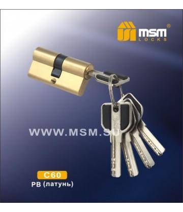 Цилиндровый механизм MSM C60 мм Полированная латунь (PB), латунь Перфорированный ключ-ключ