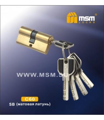 Цилиндровый механизм MSM C60 мм Матовая латунь (SB), латунь Перфорированный ключ-ключ