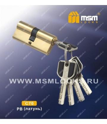 Цилиндровый механизм MSM C70 мм Полированная латунь (PB), латунь Перфорированный ключ-ключ
