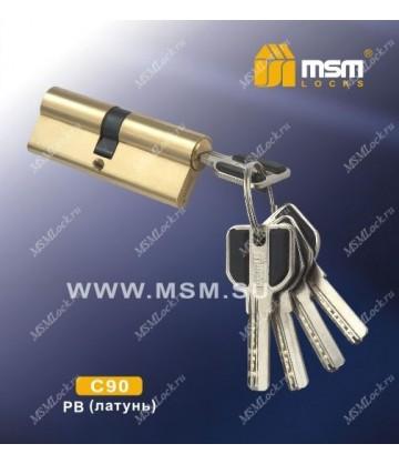 Цилиндровый механизм, латунь Перфорированные ключ-ключ C90 мм Полированная латунь (PB), латунь Перфорированный ключ-ключ