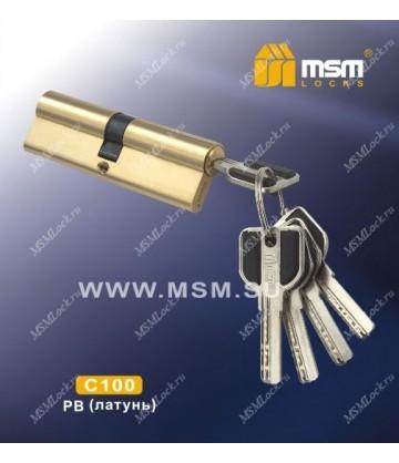 Цилиндровый механизм MSM C100 мм Полированная латунь (PB), латунь Перфорированный ключ-ключ