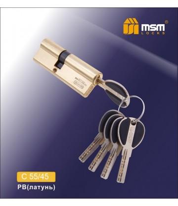 Цилиндровый механизм, латунь Перфорированный ключ-ключ C55/45 мм Полированная латунь (PB)