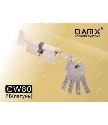 Цилиндровый механизм DAMX Перфорированные ключ-вертушка CW80 мм Полированная латунь (PB)