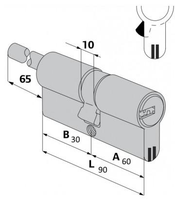 Цилиндровый механизм Cisa (Чиза) AP3 S 60х30 0H3S7-87.0.66.00.С5 (90 мм/55+10+25) Латунь