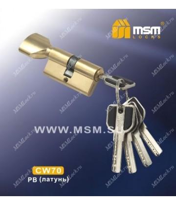 Цилиндровый механизм MSM CW70 мм Полированная латунь (PB), латунь Перфорированный ключ-вертушка