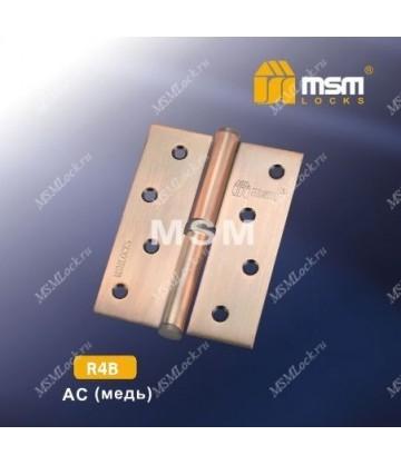 Петля МСМ латунная съемная 100 мм без колпачка ПРАВАЯ R4B Медь (AC)