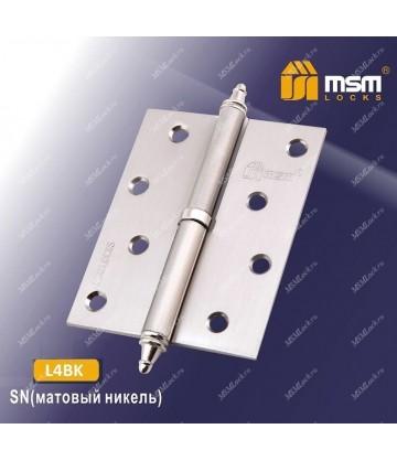 Петля МСМ латунная съемная 100 мм с колпачком ЛЕВАЯ L4BK Матовый никель (SN)
