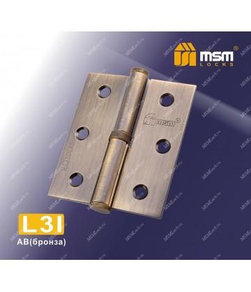 Петля MSM съемная 75 мм без колпачка ЛЕВАЯ L3I Бронза (AB)