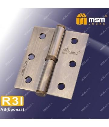 Петля MSM съемная 75 мм без колпачка ПРАВАЯ R3I Бронза (AB)