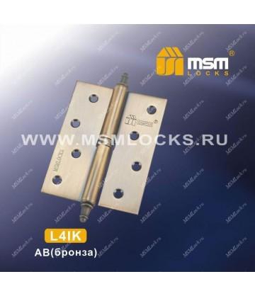 Петля MSM съемная 100 мм с колпачком ЛЕВАЯ L4IK Бронза (AB)