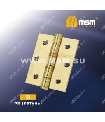 Петля универсальная 75 мм без колпачка MSM 3I Полированная латунь (PB)