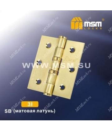Петля универсальная 75 мм без колпачка MSM 3I Матовая латунь (SB)