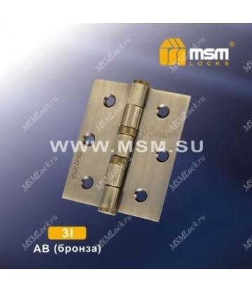 Петля универсальная 75 мм без колпачка MSM 3I Бронза (AB)