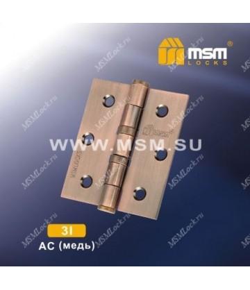 Петля универсальная 75 мм без колпачка MSM 3I Медь (AC)