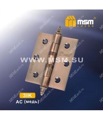 Петля универсальная 75 мм с колпачком MSM 3IK Медь (AC)