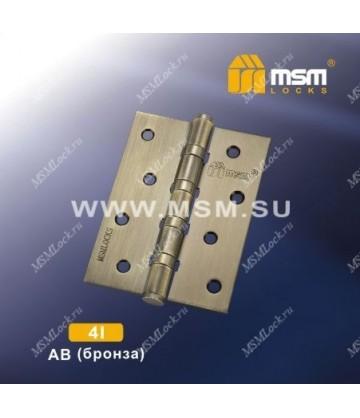 Петля MSM универсальная 100 мм без колпачка 4I Бронза (AB)