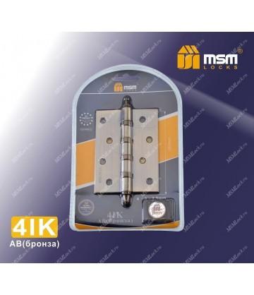 Петля MSM универсальная 100 мм с колпачком (4IK) В блистере Бронза (AB)